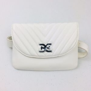 Sam Edelman Quilted White Shoulder Belt Bag